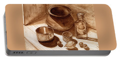 Still Life Walnut Ink Portable Battery Charger by Mukta Gupta