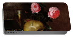 Still Life With A Skull Oil On Canvas Portable Battery Charger