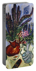 Still Life With A Vase Of Flowers Portable Battery Charger