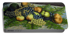 Still Life With Pears And Grapes Portable Battery Charger