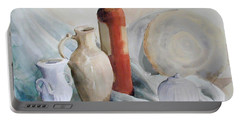 Watercolor Still Life With Pottery And Stone Portable Battery Charger