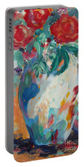 Portable Battery Charger featuring the painting Still Life With Roses Partial View by Avonelle Kelsey