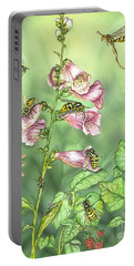 Stinging Insects In Garden Scene Portable Battery Charger
