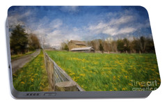 Portable Battery Charger featuring the photograph Stone Barn On A Spring Morning by Lois Bryan