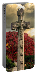 Portable Battery Charger featuring the photograph Stone Cross In Fall Garden by Lesa Fine