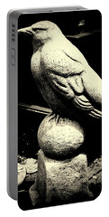 Stone Crow On Stone Ball Portable Battery Charger by Kathy Barney