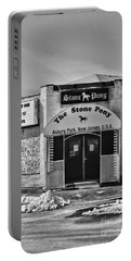 Stone Pony In Black And White Portable Battery Charger
