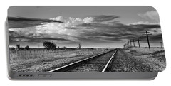Storm Cloud Above Rail Road Tracks Portable Battery Charger