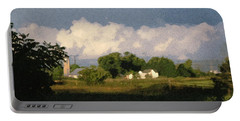 Storm Clouds Over Michigan Farm At Sunrise Portable Battery Charger