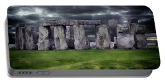 Storm Clouds Over Stonehenge Portable Battery Charger by Anthony Dezenzio
