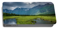 Storm Over The Mountains Portable Battery Charger by Andrew Matwijec