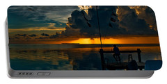 Sunset Tropical Storm And Watcher In Florida Keys Portable Battery Charger