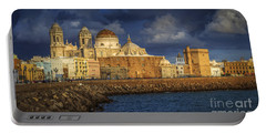Stormy Skies Over The Cathedral Cadiz Spain Portable Battery Charger