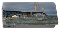 Stormy Straits Of Mackinac Portable Battery Charger