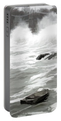 Portable Battery Charger featuring the photograph Stormy Waves Pound The Shoreline by Jeff Folger