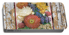 Straw Flowers On Vintage Tin Portable Battery Charger