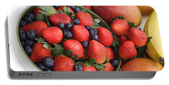 Strawberries Blueberries Mangoes And A Banana - Fruit Tray Portable Battery Charger