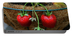 Strawberries Portable Battery Charger by Pamela Walton