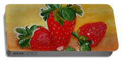 Portable Battery Charger featuring the painting Strawberry Delight by Johanna Bruwer