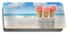 Strawberry Ice Creams Portable Battery Charger by Amanda Elwell