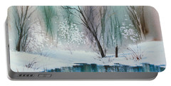 Stream Cove In Winter Portable Battery Charger by Teresa Ascone