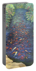 Portable Battery Charger featuring the painting Stream Of Koi by Karen Zuk Rosenblatt