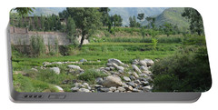Stream Trees House And Mountains Swat Valley Pakistan Portable Battery Charger