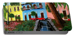 Street Hill In Old San Juan Portable Battery Charger