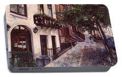 Portable Battery Charger featuring the painting street in the Village NYC by Walter Casaravilla