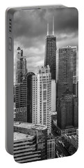 Streeterville From Above Black And White Portable Battery Charger by Adam Romanowicz