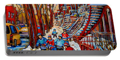 Streets Of Verdun Hockey Art Montreal Street Scene With Outdoor Winding Staircases Portable Battery Charger