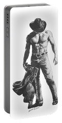 Portable Battery Charger featuring the drawing Strength Of A Cowboy by Marianne NANA Betts