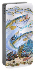 Striped Bass Rocks Portable Battery Charger by Carey Chen