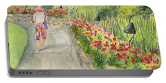 Portable Battery Charger featuring the painting Strolling Butchart Gardens by Vicki  Housel