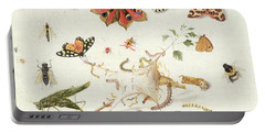 Study Of Insects And Flowers Portable Battery Charger by Ferdinand van Kessel