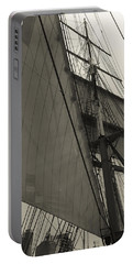 Suare And Triangle Black And White Sepia Portable Battery Charger