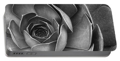 Succulent In Black And White Portable Battery Charger