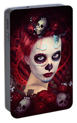 Portable Battery Charger featuring the digital art Sugar Doll Red by Shanina Conway