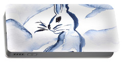 Sumi-e Snow Bunny Portable Battery Charger by Beverley Harper Tinsley