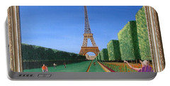 Portable Battery Charger featuring the painting Summer In Paris by Ron Davidson
