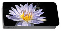 Summer Magic -- Dragonfly On Waterlily On Black Portable Battery Charger