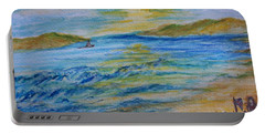 Portable Battery Charger featuring the painting Summer/ North Wales  by Teresa White