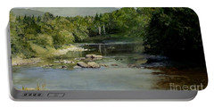 Summer On The River In Vermont Portable Battery Charger by Laurie Rohner