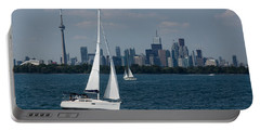 Summer Sailing Postcard From Toronto Portable Battery Charger