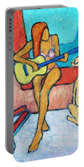 Portable Battery Charger featuring the painting Summer Serenade I by Xueling Zou