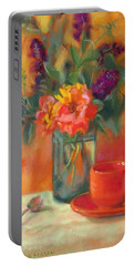 Summer Song- Orange Roses And Butterfly Bush Blooms Portable Battery Charger