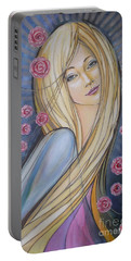 Portable Battery Charger featuring the painting Sun And Roses 081008 by Selena Boron