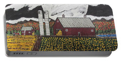 Portable Battery Charger featuring the painting Sun Flower Farm by Jeffrey Koss
