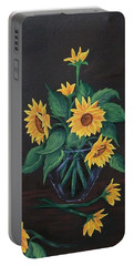 Portable Battery Charger featuring the painting Sun Flowers  by Sharon Duguay