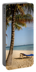 Sun Lounger, Beach And Palm Trees Portable Battery Charger